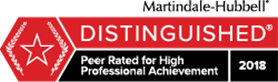 Martindale-Hubbell | DISTINGUISHED | Peer Rated for High Professional Achievement | 2018